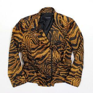 CARLISLE Tiger Animal Print Cinch Moto Jacket